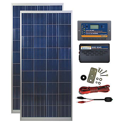 300 Watt, 12 Volt Solar Backup Kit