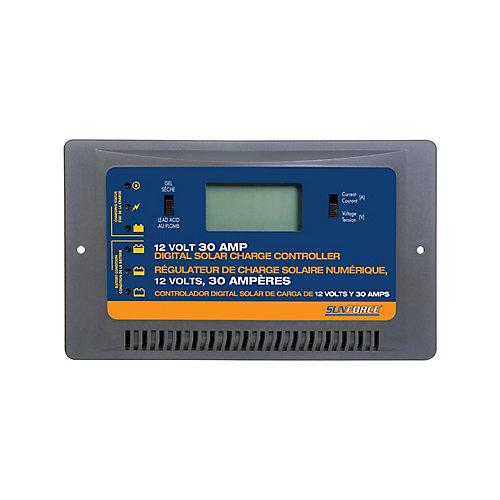 Régulateur de Charge Solaire Numérique, 12 Volts, 30 Ampères