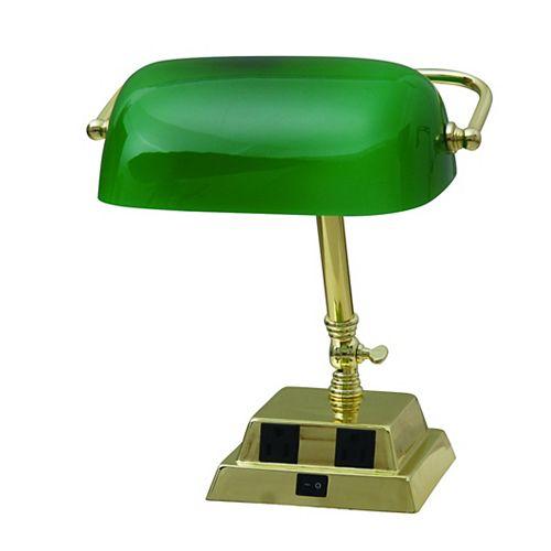 Lampe banquier avec 2prises de courant et diffuseur, 13,8po, laiton et verre vert