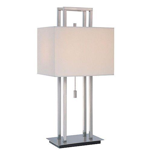 2 Table lumineuse Lampe L'acier Terminer Tissu Blanc Ombre
