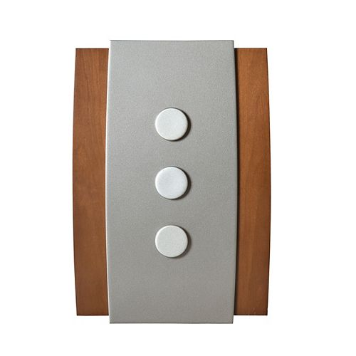 Décor Wireless Chime & Push - Wood w/ Silver Accent