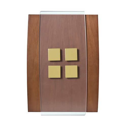 Décor Wireless Chime & Push-Wood w/Brass Accents