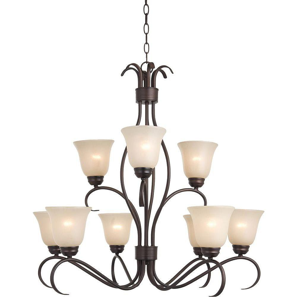 Illumine 9 Light Multi Tier Chandelier Oil Rubbed Bronze Finish Wilshire Glass The Home Depot Canada