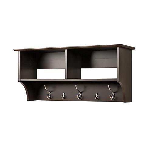 Espresso 36 Inch Wide Hanging Entryway Shelf