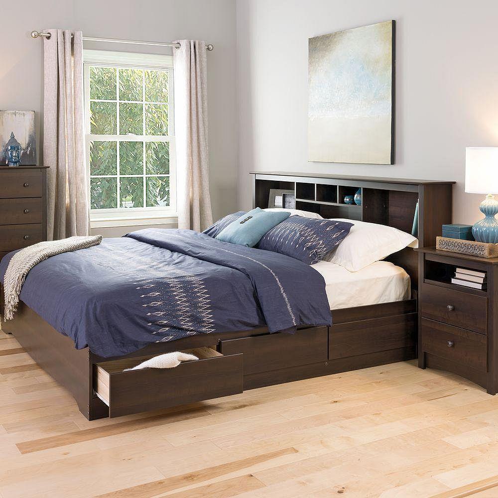 Prepac Base de lit matelot à 6 tiroirs pour très grand lit Mate's, espressso