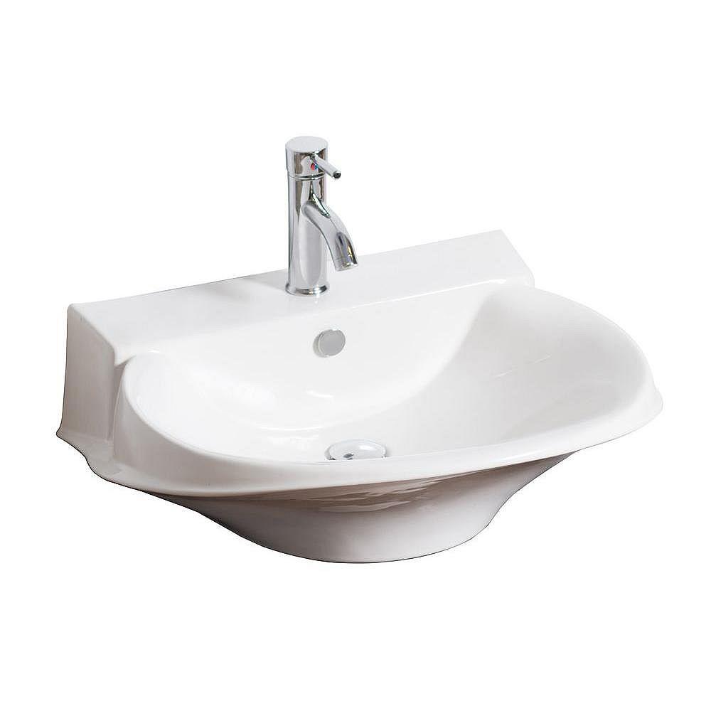 American Imaginations Vasque de style victorien en céramique blanche , installation sur Comptoir, avec orifice unique de robinet
