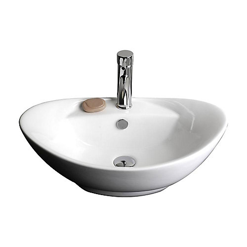 Oval Ceramic Vessel Sink in White