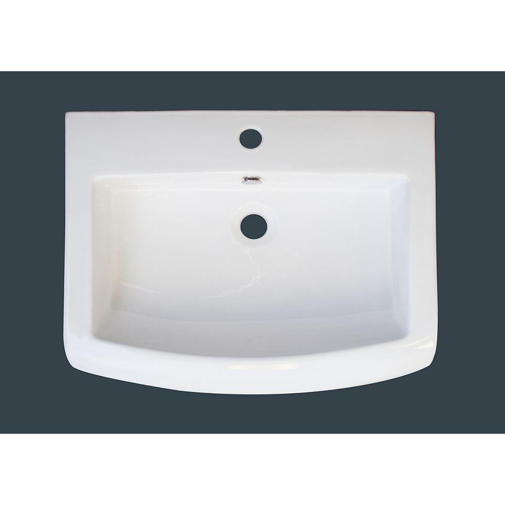 American Imaginations 23 po x 18 po Comptoir en céramique blanche, avec orifice unique de robinet