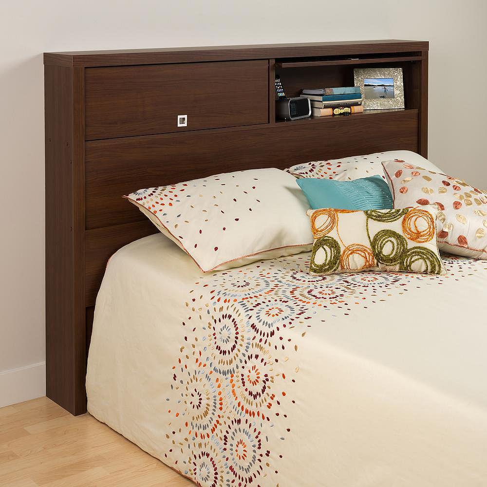 Prepac Dossier de lit à deux portes de la Série Décor 9 pour lit double ou grand lit, fini cerisier foncé