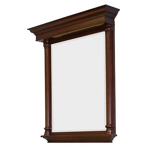 36 po x 42 po Miroir encadré de bois, rectangulaire, avec étagère et finition cerisier foncé