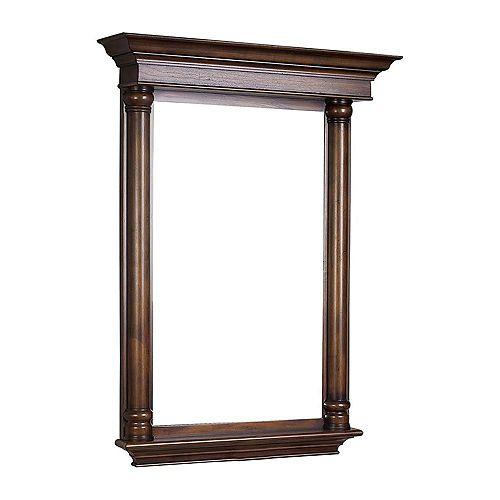 30 po x 42 po Miroir encadré de bois, rectangulaire, avec étagère et finition cerisier légèrement altéré