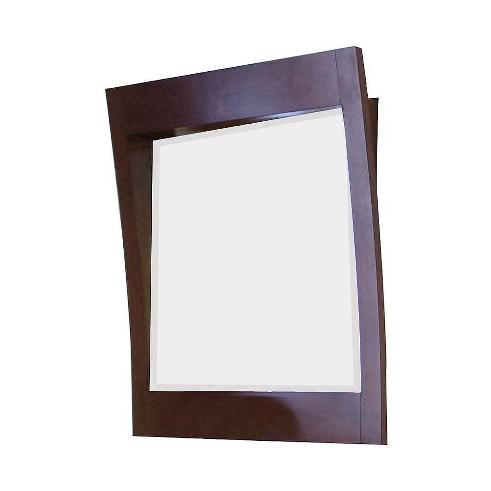American Imaginations 32 po x 36 po Miroir encadré de bois, rectangulaire, avec finition noyer