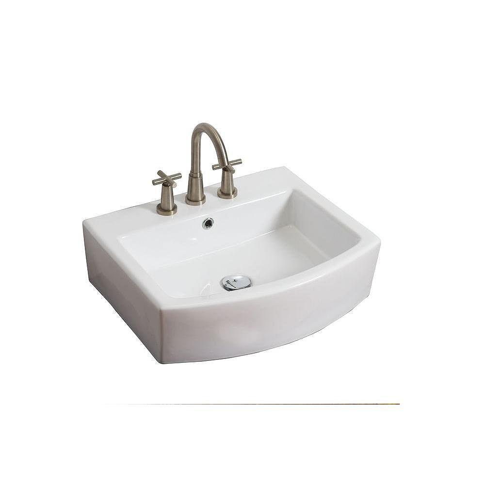 American Imaginations Vasque en céramique blanche, installation sur Comptoir, rectangulaire, avec centres de 8 po