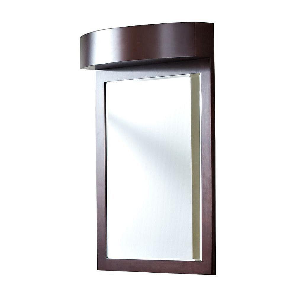 American Imaginations 24 po x 36 po Miroir encadré de bois, rectangulaire, avec finition de café