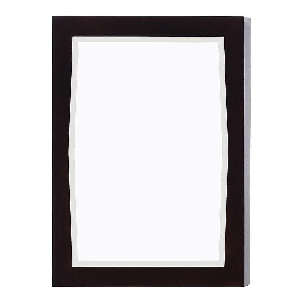 American Imaginations 24 po x 34 po Miroir encadré de bois, rectangulaire, avec finition noyer légèrement altéré