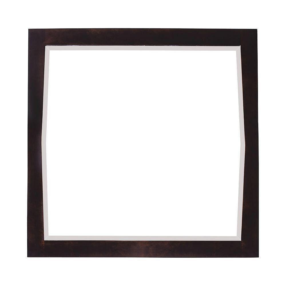 American Imaginations 34 po x 34 po Miroir encadré de bois, carré, avec finition noyer légèrement altéré