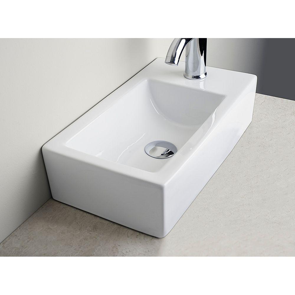 American Imaginations Évier en céramique blanche, installation sur Comptoir, avec orifice unique de robinet