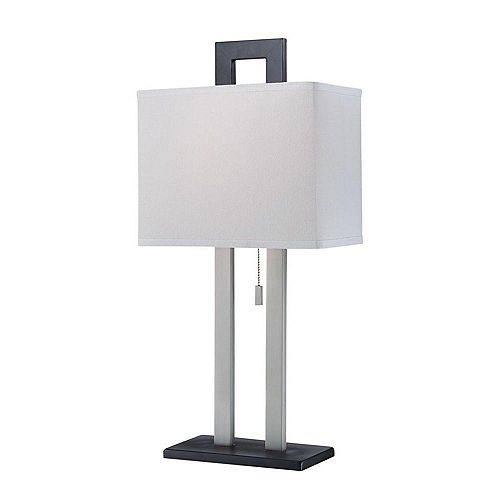 1 Table lumineuse Lampe Finition noire Tissu Blanc Ombre