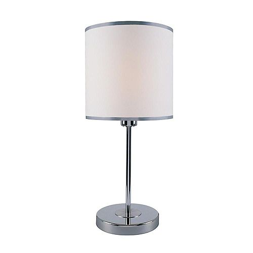 1 Table lumineuse Lampe Chrome Terminer Tissu Blanc Ombre