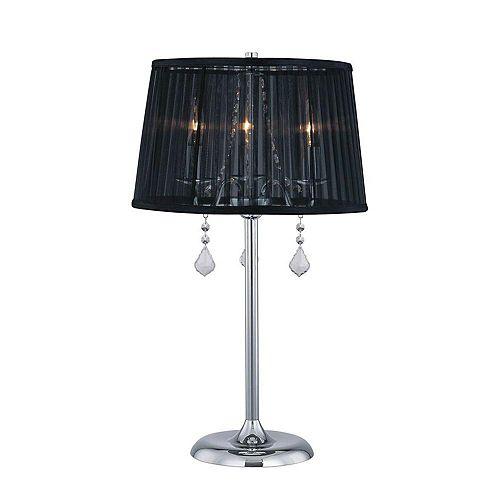 3 Table lumineuse Lampe Finition noire Ombre noire Organza