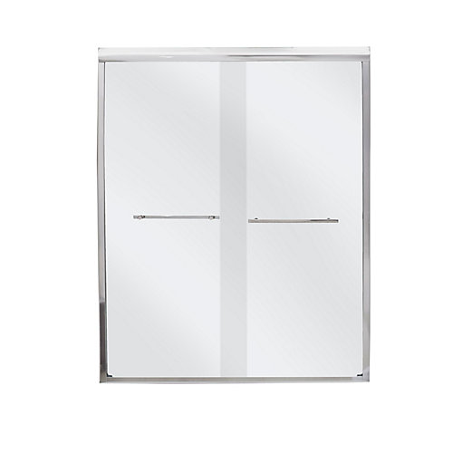 "BDS60PS 60-inch W x 73"" H Semi-Framed Rectangular Bypass/Sliding Shower Door and Towel Bar in White"