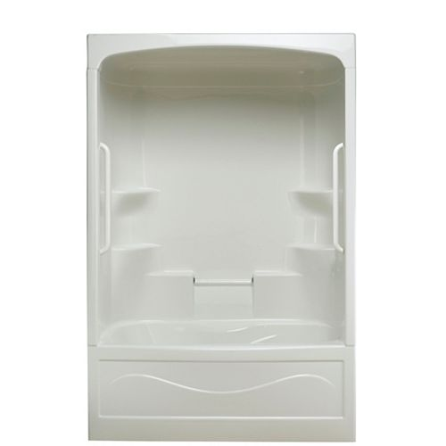 Mirolin Liberty 60-inch x 88-inch x 34-inch 4-shelf 1-Piece Right Hand Drain Tub & Shower with Grab Bar