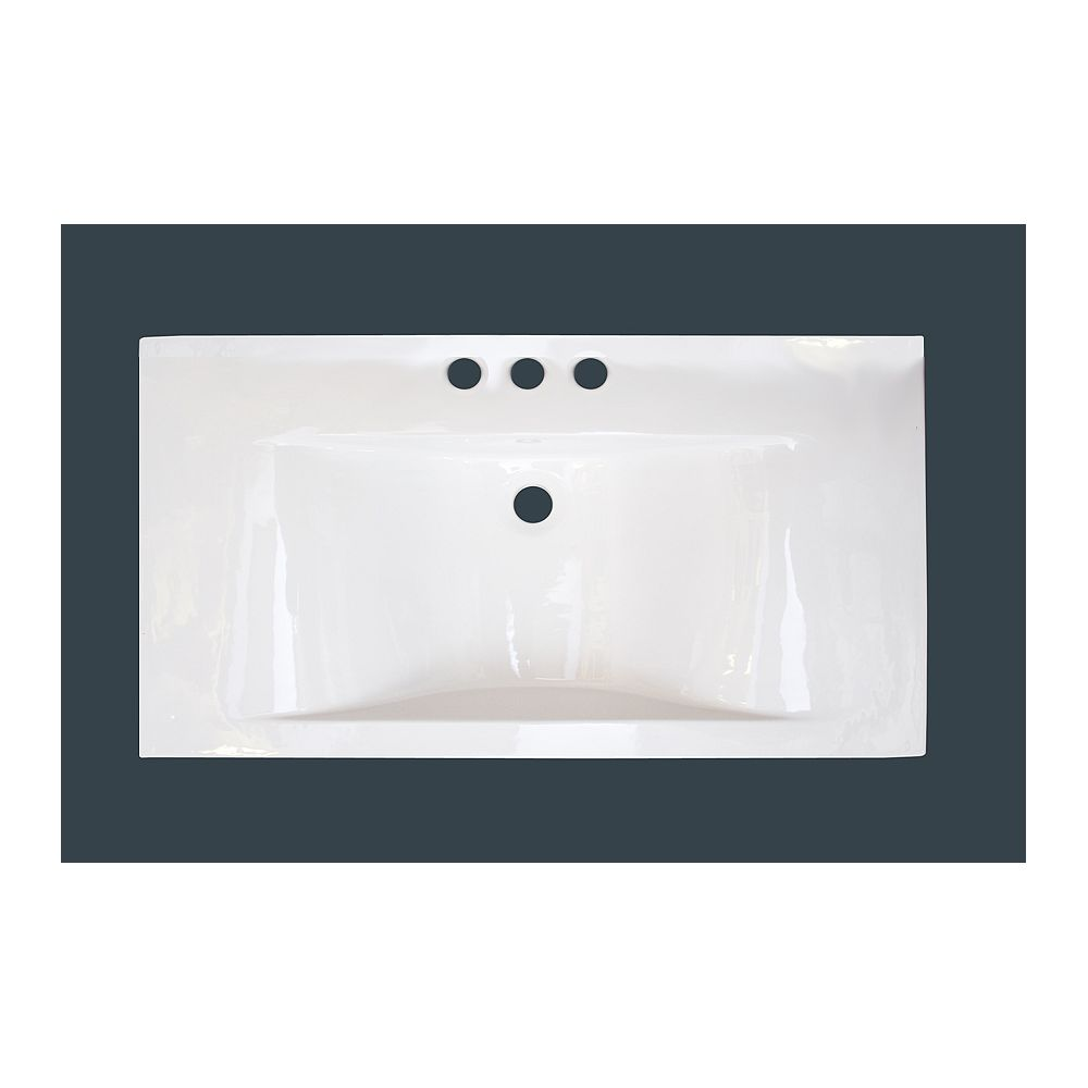 American Imaginations 36-inch W x 19-inch D Ceramic Top with 4-inch Centres in White