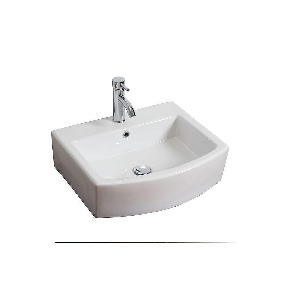 American Imaginations Vasque en céramique blanche, rectangulaire, installation sur Comptoir, avec orifice unique de robinet