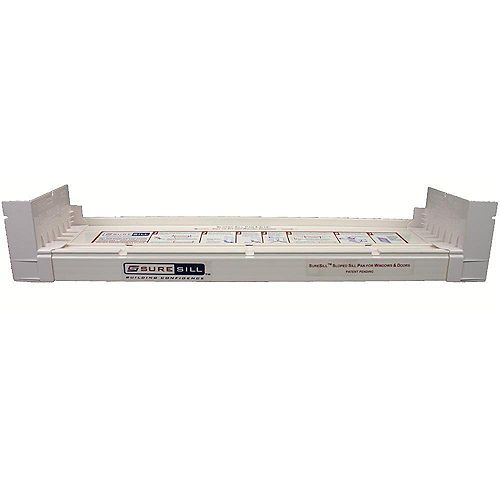 4 9/16-inch x 39-inch PVC Sloped Sill Pan for Door and Window Installation and Flashing in White