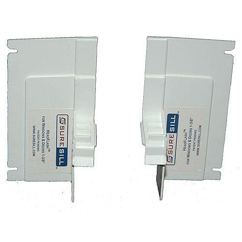 SureSill Embouts de 13/8 po en PVC blanc pour solin de tête incliné (paire simple)