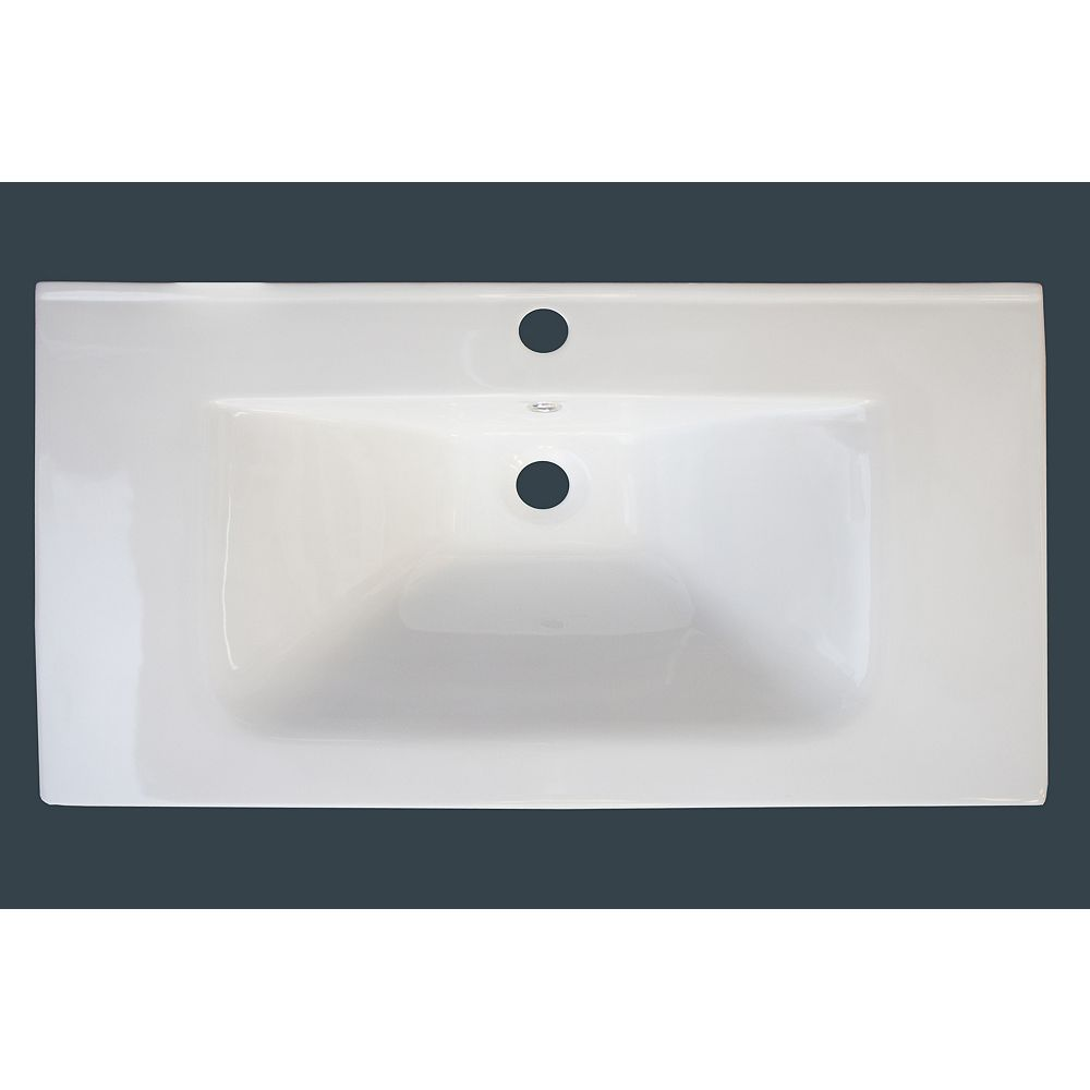 American Imaginations 32-inch W x 18-inch D Ceramic Top with Single Hole in White