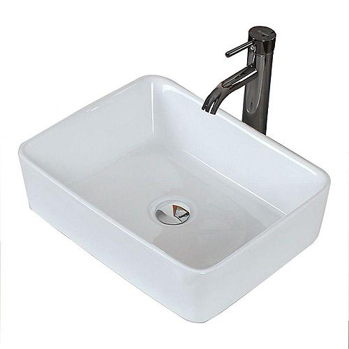 Rectangular Ceramic Vessel Sink in White
