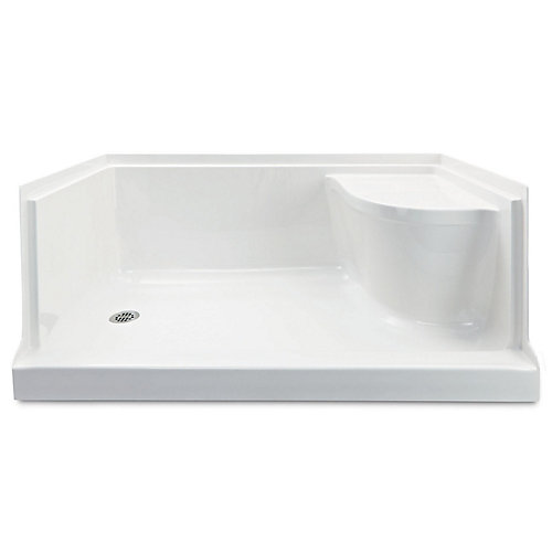 Ellis 60-inch W Acrylic Shower Base Rectangle with Seat Left Hand in White