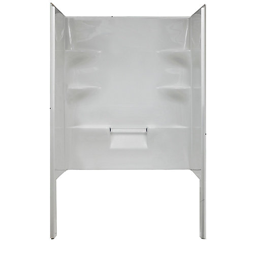 Ellis 48-inch W Acrylic Shower Walls with One Back and Two Side Acrylic Walls in White
