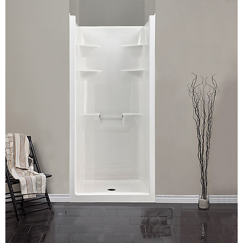 Melrose 36-inch D x 80-inch W x 36-inch H Square 1-Piece Acrylic Shower Stall in White