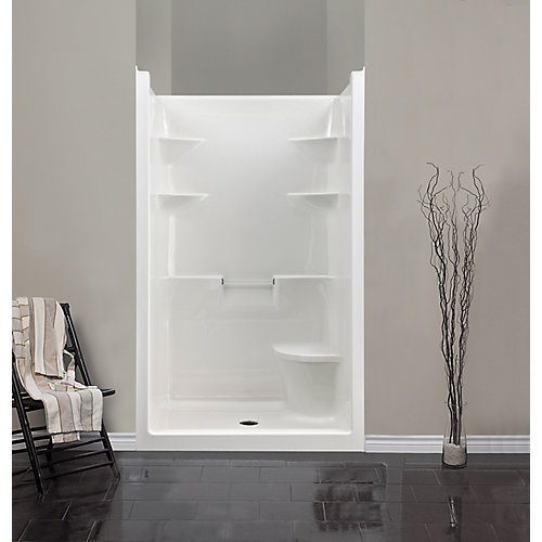 Melrose 36-inch D x 48-inch W x 80-inch H 4 1-Piece Acrylic Shower Stall with Seat in White