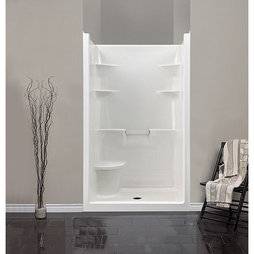 Melrose 4 1-Piece Acrylic Shower Stall with Seat