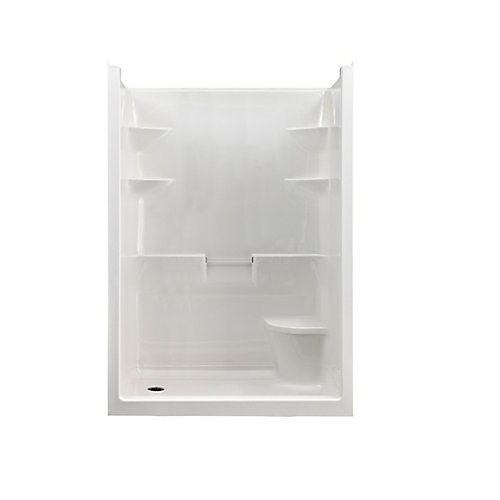 Melrose 5 1-Piece Acrylic Shower Stall with Seat, Left Plumbing