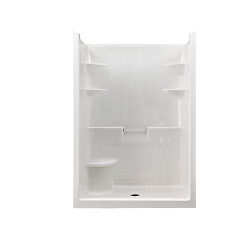 Melrose 5 1-Piece Acrylic Shower Stall with Seat, Centre Drain, Left plumbing