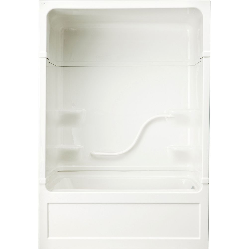 Mirolin Parker 60-inch x 89.5-inch x 32-inch 4-shelf 1-Piece Right Hand Drain Tub & Shower with Grab Bar
