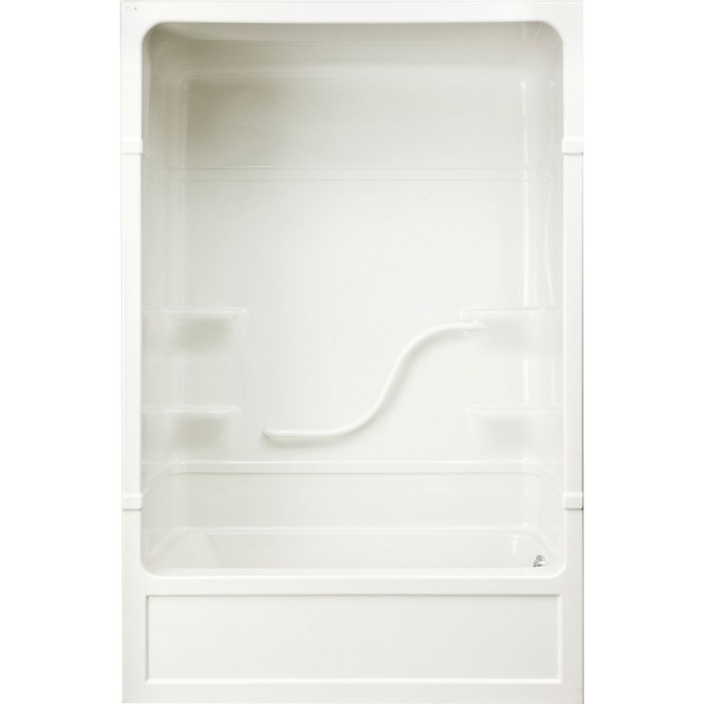 Mirolin Parker 33-inch D x 60-inch W x 85.5-inch H 4-shelf 3-Piece Right Hand Drain Tub & Shower in White