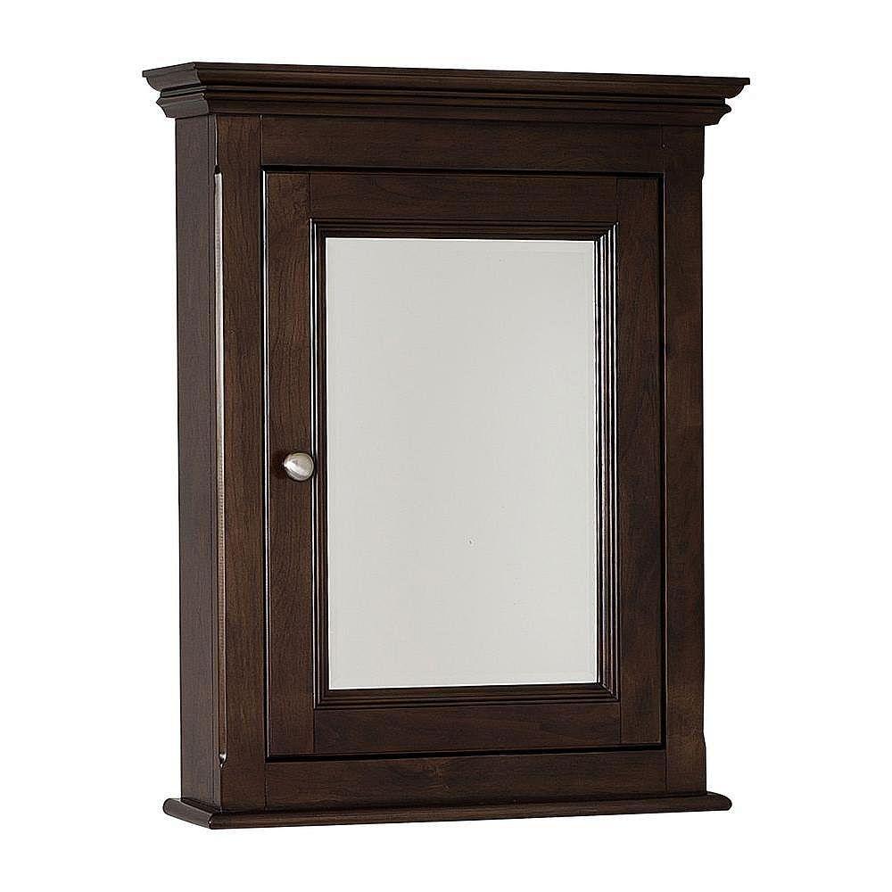 American Imaginations 24 Inch x 30 Inch Solid Wood Framed Reversible Door Medicine Cabinet in Walnut Finish