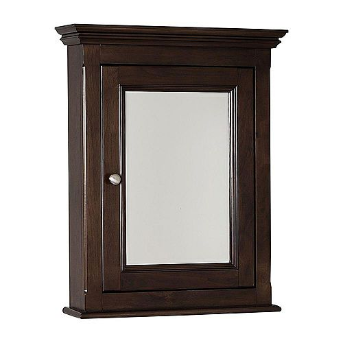 American Imaginations 24 Inch x 30 Inch Solid Wood Framed Reversible Door Medicine Cabinet in Walnut Finish