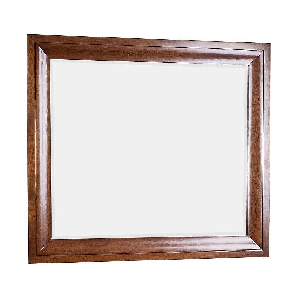 American Imaginations 38 po x 34 po Miroir encadré de bois, rectangulaire, avec finition cerisier