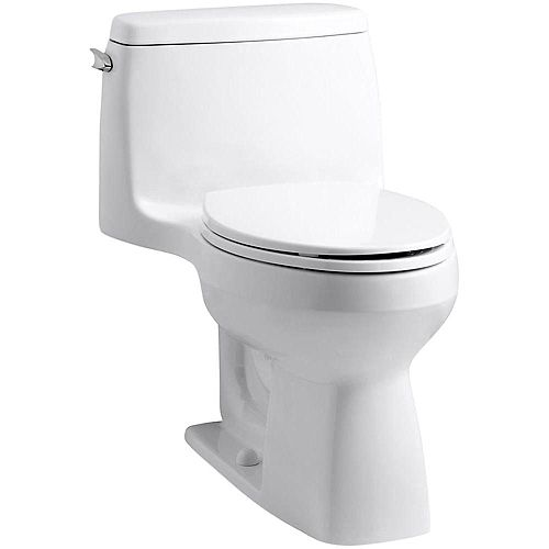 Santa Rosa Comfort Height 1-Piece 1.28 GPF Compact Single Flush Elongé Toilette en blanc
