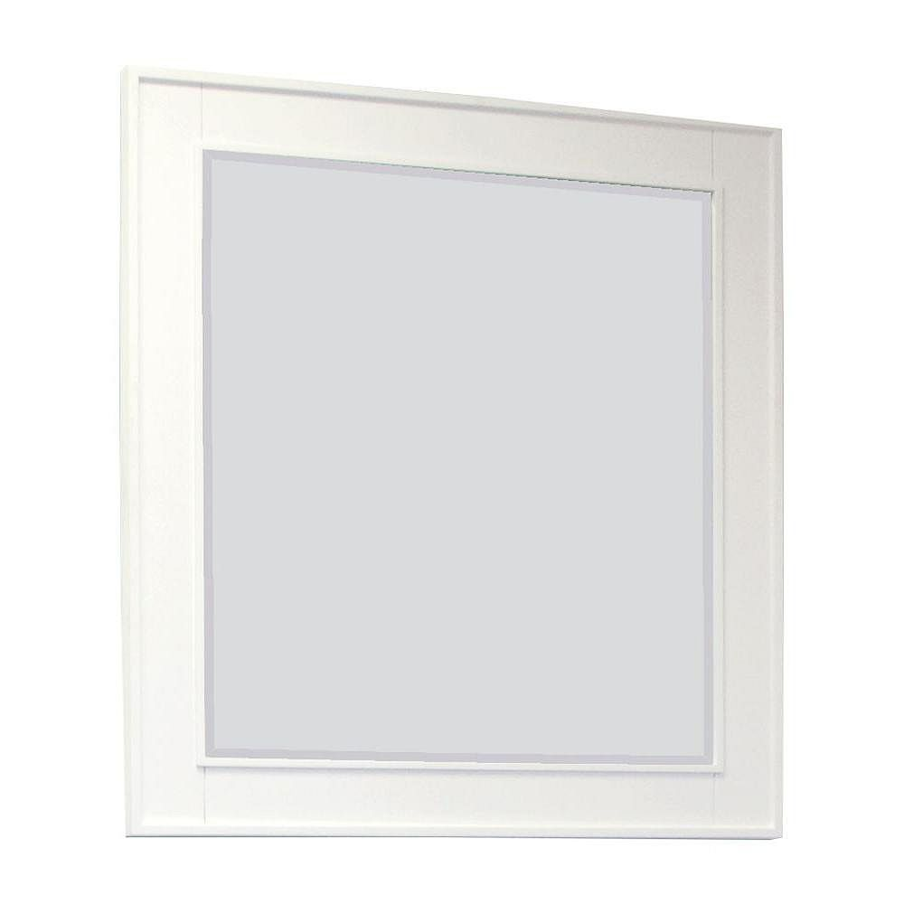 American Imaginations 32 Inch x 34 Inch Rectangle Wood Framed Mirror in White Finish