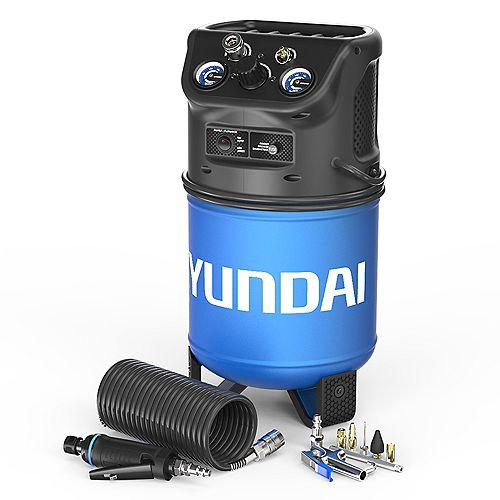 HHC3GCK 3 Gallon Vertical Style Electric Air Compressor w/ Mini Die Grinder & 8pc Blow Gun Kit