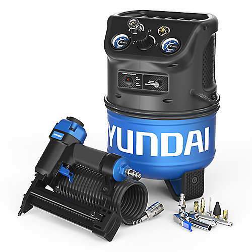 2 Gallon Vertical Style Electric Air Compressor with 2-in-1 Brad Nailer and Stapler