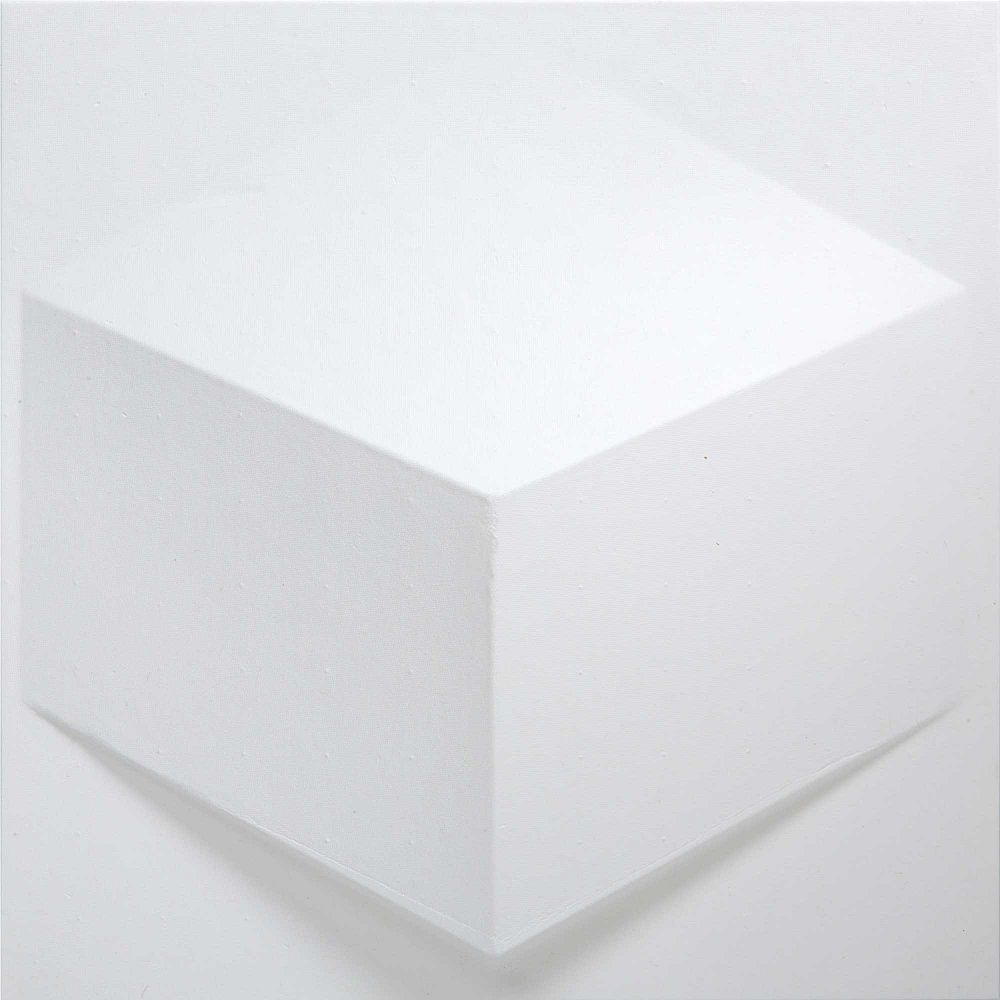 MIO PaperForms Cube Wallpaper Tiles White Color (Paintable) 12 Tile Pack (1 x 1 feet x 2 inches deep glue-up wallpaper tile)