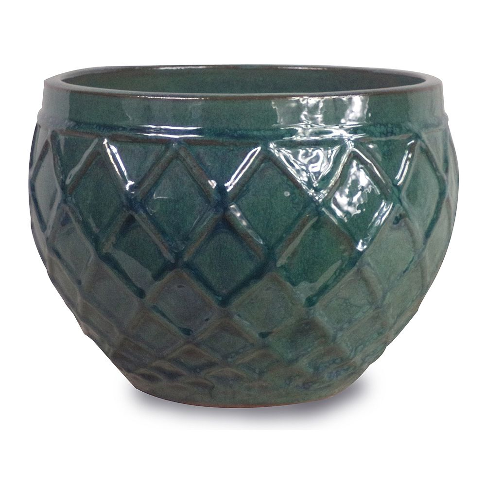 Trendspot Jardinière Diamante, 14 po, céramique, bleu/vert